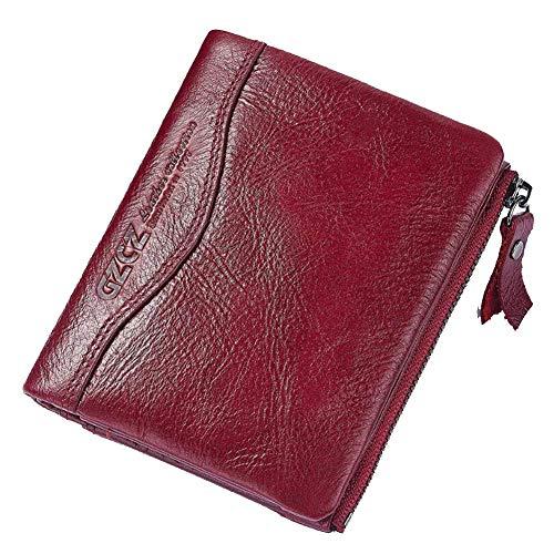 YCX Retro Leder Brieftaschen für Herren, Multifunktions-RFID-Diebstahlbürste Geldbörse Card Bag Zipper Wallet,C,12.5x2x10CM -