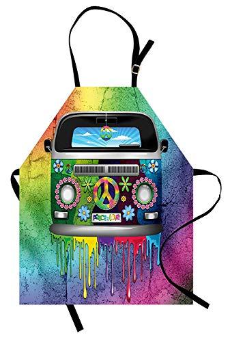 WELQUN Schürze Aprons Schürze Old Style Hippie Van Mit Tropfender Regenbogenfarbe Mitte Der 60Er Jahre Jugend Revolution Bewegung Frauen Männer Kinder Küche Pinafore -