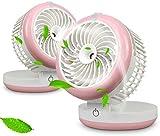 Portable 4 Speeds Mini USB Fan Table Fans Humidifier Fan Cooling Mist Fan Rechargeable Humidifier Personal Fan Desktop Fan with 18650 Rechargeable Battery for Hot Summer Outdoor Travelling (Pink)