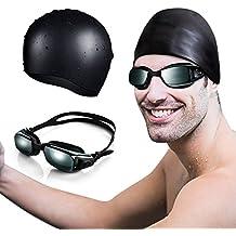Gafas de Natación y Gorra de Natación de OMorc, Silicona Premium Gafas Natacion Con Protección UV y Tecnología Anti-niebla para Hombres y Mujeres, Gorra de Natacion Incluida - Negro