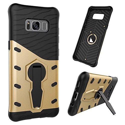 YHUISEN Hybrid Tough Rugged Dual Layer Rüstung Schild Schützende Shockproof mit 360 Grad Einstellung Kickstand Case Cover für Samsung Galaxy S8 ( Color : Black ) Gold
