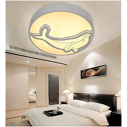 Ancernow Sencillo montaje en techo creativo LED Iluminación de techo de interior luces de hierro para dormitorios,Salón,Kid's room,cocina,Pasillo,sala de estudio,Dolphin 55cm,Dimmer LED Iluminación de techo de interior tricolor
