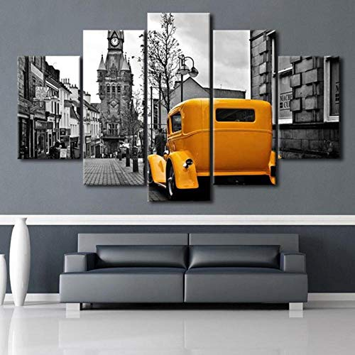 ASWLH Drucken Sie Dekorative Malerei Wandbilder Leinwand Poster Yellow Oldtimer In The City - 5 Stück Leinwand