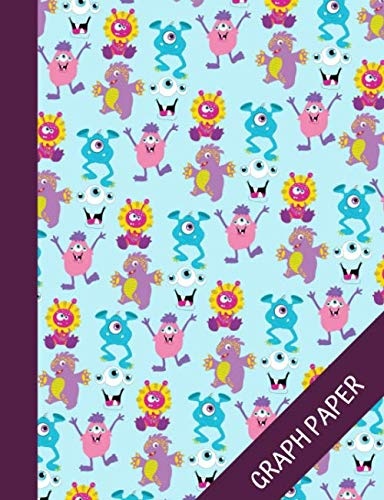 Monster gang: Cute Graph Paper Composition Notebook 120 pages, Math Grid Paper Journal for Students, Quad Ruled 5 Squares per Inch, Adorable and Colorful Cover