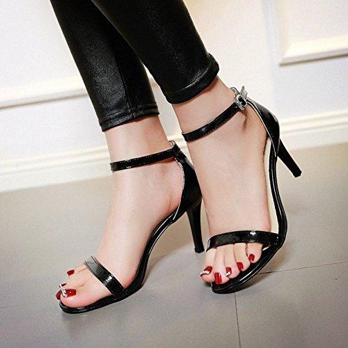 COOLCEPT Damen Fashion Strappy Shoes Open Toe Kn?Chelriemchen Sandalen Stiletto Schwarz 713