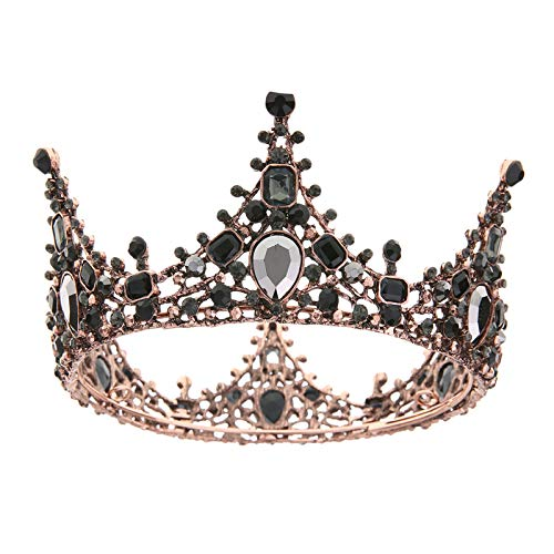 Jewelry M die Krone Krone Braut Kopfschmuck, Krone, Fee Brautkleid und Hochzeit Ornamente, schwarz