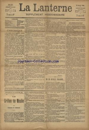 LANTERNE (LA) [No 80] du 10/01/1886 - OU EN REVIENT TOUJOURS PAR O'MONROY - UN VASE DU JAPON PAR AUDEBRAND - ENTRE VIEUX AMIS PAR POTONIE - MUSIQUE DE CHAMBRE PAR BEGARRE - LES DOCTORESSES EN RUSSIE PAR ACHKINASI - LA SANTE PUBLIQUE PAR LE DR MARC - FEUILLETON / LE GRILLON DU MOULIN PAR PONSON DU TERRAIL