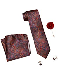 COCO CHANEL Men's Silk Stain Resistant Necktie, Pocket Square, Lapel Pin Cufflinks Set (Red)