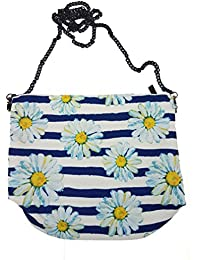 Waterproof Sling Bags Cum Purse For Females With White And Blue Strips And Flowers Print