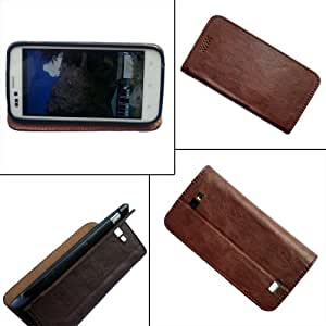 i-KitPit - PU Leather Flip Case Cover Micromax Bolt A47 (BROWN)