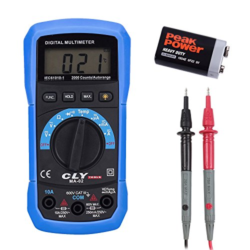 CLY MA-02–Multímetro digital AC/DC Tensión Corriente Resistencia Temperatura Medición Diodo Y Continuidad Probador Voltímetro Amperímetro óhmetro con LCD Retroiluminación