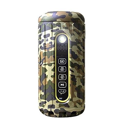 Enceinte Bluetooth sans fil Bluetooth Bliiq Infinte X Sports de plein air. Etanche à l'eau et à la poussière. Résistant aux chocs, Powerbank intégré, lampe de poche DEL, fiche Micro-SD - Couleur camouflage