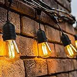 OxyLED Led-lichtsnoer voor buiten, S14 lichtketting, gloeilamp, led retro, 15 m, IP65 waterdicht, 15 x 2 W, E27 warmwit, 2500 K, verlichting voor binnen en buiten, decoratieve tuin, bruiloft