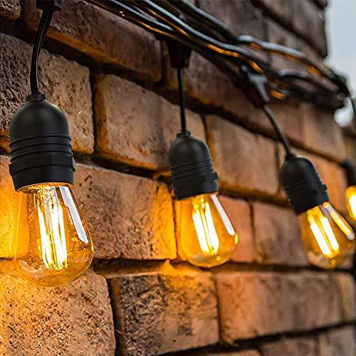 tte Außen,S14 Lichterkette Glühbirne LED Retro,15M IP65 Wasserdicht,15X2W LED Birnen E27 Warmweiß 2500K Beleuchtung für Innen und Außen Deko Garten Hochzeit ()