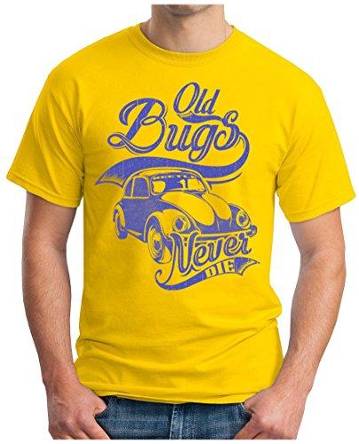OM3 - BEETLE-CULT - T-Shirt OLD BUGS NEVER DIE OLDTIMER RETRO CAR AUTO BREZEL KULT HIPPIE Gelb
