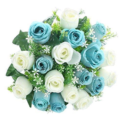 Soledì fiori finti rosa per decorazioni interno matrimonio 18 rose bouquet fiori artificiali (bianco + tiffany blu)