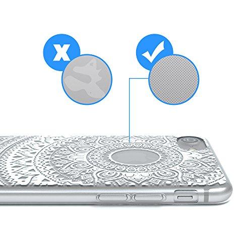 """iPhone 8 Hülle / iPhone 7 Hülle - EAZY CASE Slimcover """"Henna"""" Handyhülle für Apple iPhone 7 & iPhone 8 - Flexible Schutzhülle mit Indischer Sonne Optik in Weiß / Transparent Weiß / Rosa"""