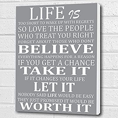 Life Is Too Short Quote - Wall Art Box Canvas - Light Grey A3 12x16 inch - inexpensive UK canvas store.