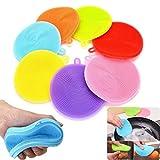 BraveWind - Cepillo antibacteriano de silicona para lavar platos, fregadero, esponja, cocina, herramientas de limpieza para lavadora, olla, cuenco, frutas, verduras