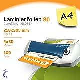 Printation Lot de 100pochettes de plastification format A4 303x 216mm, 2x 80microns Haute Brillance Printation Plastification haute qualité