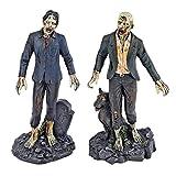 Design Toscano CL96126 Collection Statues de Zombie Mort Marchantavec Pierre Tombale et Loup, Multicolore, 7.5 x 9 x 18 cm