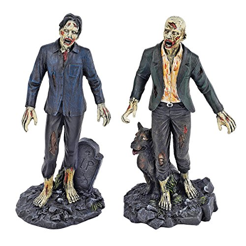 Design Toscano Wandelnde tote Zombies, Figurenkollektion: Zombie mit Grabstein und Zombie mit Wolf