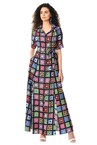 eShakti Women's Mosaic tile print crepe sash shirtdress UK Size 10/Short height Black multi
