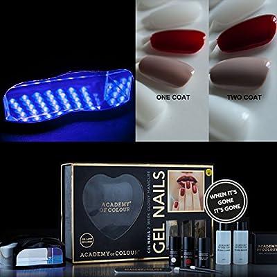 Academy of Colour Gel Nail Polish Manicure Complete DIY Starter Kit Set UV Lamp plus 2 Colours