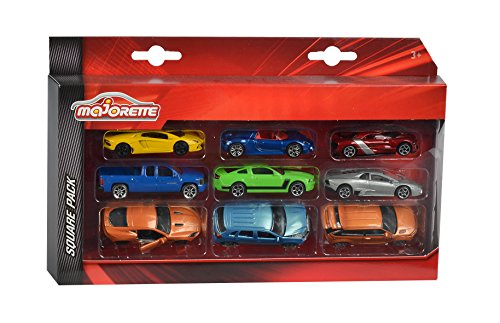 Majorette 212053241 - Square Pack 9 Cars, Set mit neun Autos, 7,5 cm