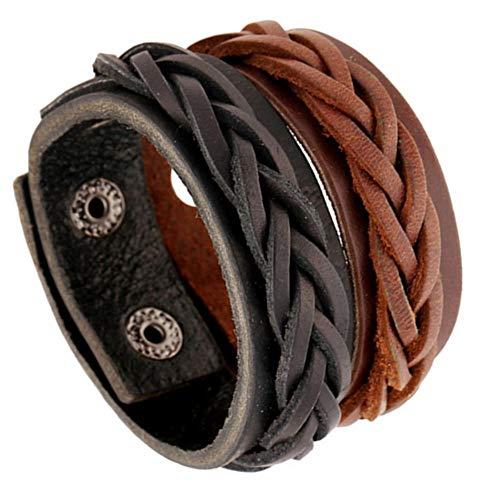 ed09d2f363 Luziang Bracelet Charms 2 Piezas Set (Negro + Marrón) Hombres Mujeres  Pulsera Popular Vintage Woven Leather Bracelet,La Pulsera