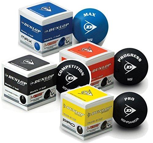 Box mit 12 Stück Dunlop Squashbälle Squashball INTRO für Anfänger 1 blauer Punkt