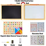 Emob Wooden Frame Double Sided Magnetic Whiteboard and Black Slate with Alphanumeric, Mathematical Signs and Tangram