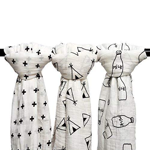 Qav Juh 3 Pack Musselin Baby Wickeldecke Wrap Decken, 120 x 120 cm Bio Baumwolle Musselin Receiving Decke für Unisex Dusche Geschenk (Kreuz & Tipi & Milchflasche) EINWEG