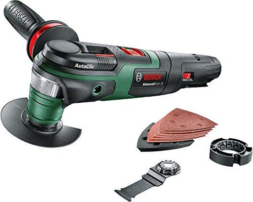 Preisvergleich Produktbild Bosch Akku Multifunktionswerkzeug AdvancedMulti 18 (ohne Akku, Deltaschleifplatte, Schleifblatt-Set, 2x Sägeblatt, Zusatzhandgriff, Karton, 18 Volt System)
