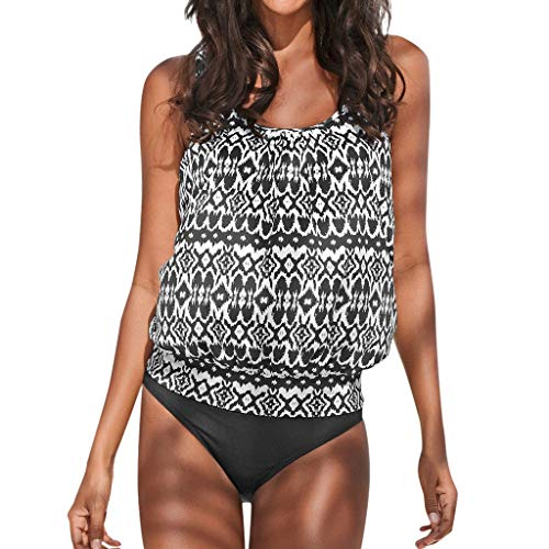 DIPOLA Women's Large Size Conservative Corrugated Print Vest Split Bikini(S-XXXXXL) Gray