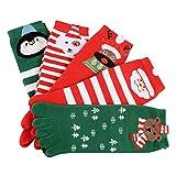 Fenverk Weihnachten Mannschaftssocken Unisec Drucken Mehrfarbig Zehe FüNf Finger Socke Reiche Baumwolle Lustig Damen Herren Süß Neuheit Kleid Festlich(Mehrfarben 3)