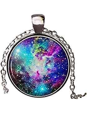 Galaxy Halskette Anhänger Nebel Rainbow Jewelry Charm Lila Star Sun Moon handgefertigt handgefertigt Vintage Halskette