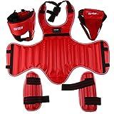 Sharplace Set Guardia Testa Protezioni Gambe Corpetto Casco Attrezzo Per Arti Marziali - Rosso