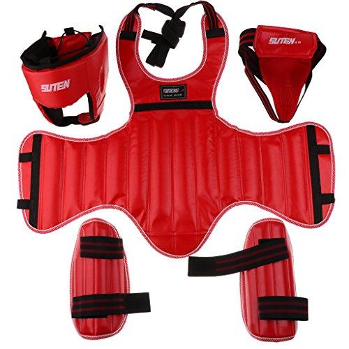 Sharplace Kit de Protectores de Pierna Pecho Cabeza Coquilla Protección Duradera Cómodo Taekwondo Arte Marcial Boxeo - Rojo