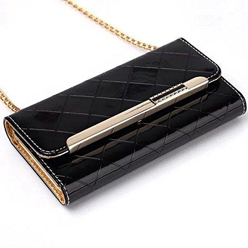iPhone Case Cover IPhone 7 Case, strass Housse en cuir PU haute qualité, Fermeture magnétique Housse portefeuille Folio avec sangle pour Apple iPhone 7 ( Color : Red , Size : IPhone 7 ) Black