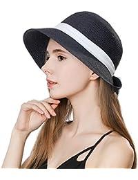 Ladies Summer Sun Hat Women Floppy Panama Straw Beach Hats Foldable Wide  Brim Fedora - UPF 1b186745e530