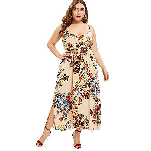 GMZA Frauen Plus Size Blumendruck Slip Maxi Kleid Ärmellos Spaghetti Strap Tiefem V-Ausschnitt Belted Bowknot A-line Party L Beige -