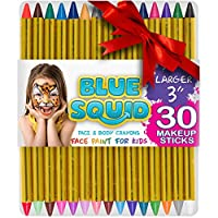 """Blue Squid Face Paint Crayons for Kids, 30 Jumbo 83mm/3.25"""" Face & Body Painting Makeup Crayons, Safe for Sensitive Skin, 6 Metallic & 24 Classic Colours, Great for Children"""