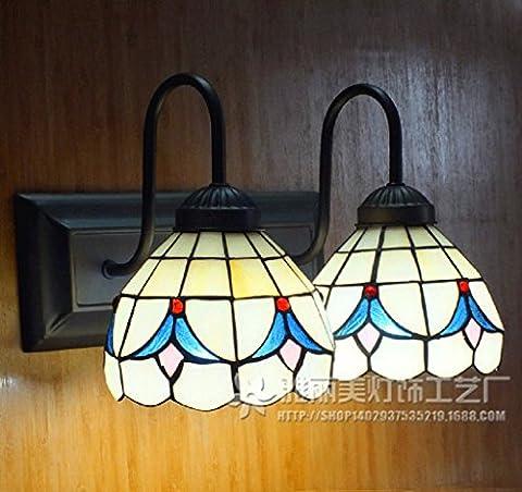 Continental vitrail Tiffany mur lampe lampe miroir avant jardin fleuri Double lampe de mur de la chambre à fuselage large lampe murale couloir