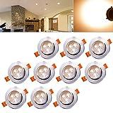 Hengda Einbaustrahler 10er pack 3W LED Warmweiß Deckenstrahler Spot Lampe Treppe Küchen Decke Einbau Spots Strahler mit Travo Einbauleuchten IP44