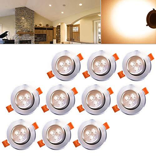 Hengda® LED Einbauleuchten 10 set 3W Deckenspot Deckenleuchten Lampen Wohnzimmer Badezimmer 230v Flach Einbau Leuchten