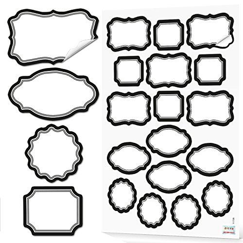 68 etichette bianche e nere, scrivibili in bianco, per casa, cucina, barattoli, barattoli di spezie, etichette da cucina, effetto gesso vintage