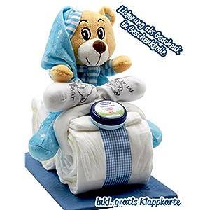 Windeltorte Windelmotorrad blau für Jungen - mit Teddybär / Das perfekte Geschenk zur Geburt oder Taufe + gratis Klappkarte