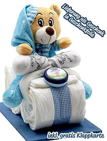 Windeltorte Windelmotorrad blau für Jungen - mit Teddybär / Das perfekte Geschenk zur Geburt oder Taufe + gratis