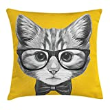 Animal Throw Pillow Cushion Cover, Sketchy Hand Drawn Design Ba Hipster Cat Cute Kitten with Glasses Image Print, Decorative Square Accent Pillow Case, 18 X 18 Inches, Grey Mustard